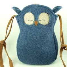 Owl Felted Wool Purse Recycled Sweater Tote in Blue Adjustable Leather Strap Linen Lining Eco Friendly