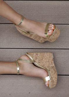 Gold High Heel Sandals, Wedge High Heels, Gold Heel Shoes, Gold Platform Heels, Gold Heels, Cute Heels, Gorgeous Heels, Sexy Legs And Heels, Womens High Heels