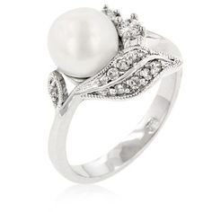 Art Vintage Pearl Diamond Wedding Rings so-maybe-i-am-a-real-girl