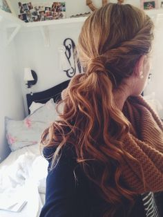 Twisted sides into a low pony with a waterfall of waves