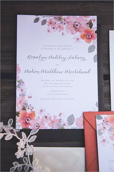 pink flower wedding invitation @weddingchicks