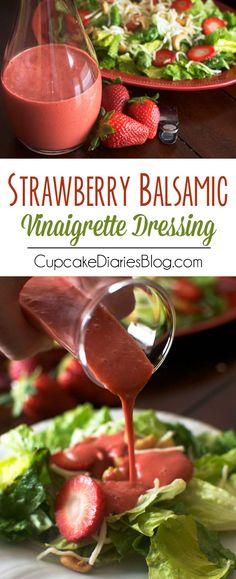 Easy Strawberry Balsamic Vinaigrette Dressing - Cupcake Diaries