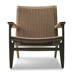Oiled-oak and natural paper-cord armchair, Easy Chair (CH25) | Design Hans J Wegner, 1950 | Manufactured by Carl Hansen & SønManufactured by Carl