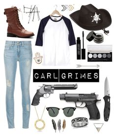 """Carl Grimes"" by oliviak267 ❤ liked on Polyvore featuring Lord & Berry, L.A. Colors, Smith & Wesson, Roberto Coin, Blue Nile and Ray-Ban"