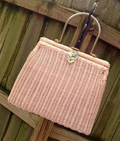 vintage pink handbag  1940s50s blush pink woven straw by mkmack, $48.00