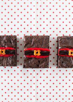 Santa Fudge Brownie Bars - chewy, rich fudge brownies dressed up with Santa belts for Christmas!