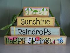 Easter and Spring Decoration wooden block stacker by FayesAttic11, $21.00