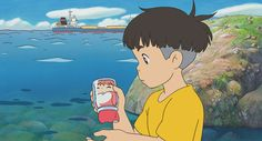 """notforthethrill: """" I started watching Ponyo the other day and it was beautiful. I love Miyazaki and Studio Ghibli. Art Studio Ghibli, Studio Ghibli Films, Hayao Miyazaki, Movie Guide, Castle In The Sky, Cartoon Background, Animation Film, Drawings, Cliff"""