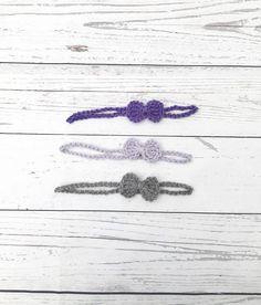 crochet baby bow headband newborn girl head wrap purple
