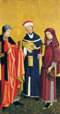 Unknown Sts Cosma, Damian and Pantaleon  c. 1455 Oil on panel, 131 x 72 cm Museo Thyssen-Bornemisza, Madrid  In the mid-15th century German painting, marked by the realist trend which had developed from the turn of the century onwards in the work of such artists as Konrad Witz and Stefan Lochner, saw a major evolution which was partly influenced by Flemish painting. This is evident in the present work.