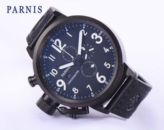 115.00$  Watch now - http://alic36.worldwells.pw/go.php?t=32783453252 - 50mm Men Watch Parnis Quartz Watches Japan Chronograph Movement Black Dial White Numbers Free Shipping 115.00$
