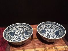 Set-Of-2-Asian-Blue-and-White-Porcelain-Soup-Cereal-Bowls-Marked