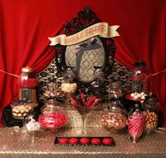 A burlesque party theme - dessert table. Great adult birthday party idea.