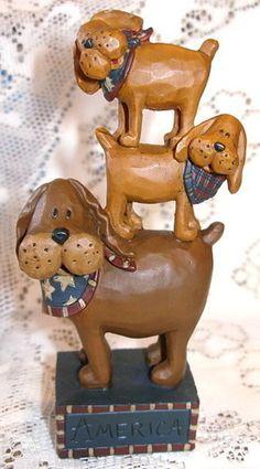 Funny Patriotic Puppy DOG Stack of THREE Folk ART Resin FIGURINE Blossom Bucket