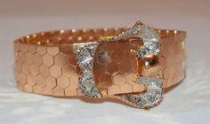 Victorian Style Segmented 18K Gold and Diamond Belt Bracelet.  $5,600.00