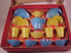 RARE Vintage Akro Agate Blue Daisy Child Dish Set Original Box   eBay