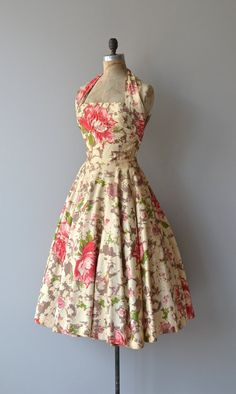 Vintage 1950s David Hart buttercream cotton dress with bright coral, green and tan floral print, huge trapunto and rhinestone flower on the bodice,