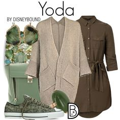 Yoda by leslieakay on Polyvore featuring Converse, 3.1 Phillip Lim, Sharon Khazzam, Vintage, disney, disneybound, starwars and disneycharacter