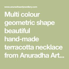 Multi colour geometric shape beautiful hand-made terracotta necklace from Anuradha Art Jewellery is best pick for fashionable women like you. It feature carving design and made from baked earthen clay. It is easy to wear as it comes with adjustable dori, so that you can fit it properly.