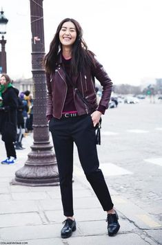 how to style oxford shoes - with black trousers, a crew neck sweater, and a deep maroon biker jacket