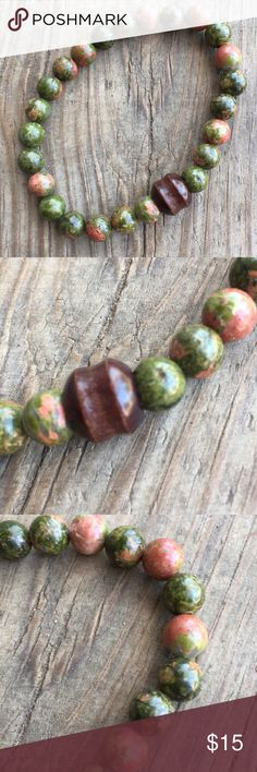 Men's natural unakite gemstone bracelet The full name for this stone is unakite epidote.  This bracelet is stretchy and will and has one unique wood accent bead   It will come pre gift wrapped for free!!  Would make a great gift 🎁 Accessories Jewelry