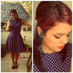 Rainy day, vintage dress <3 #polkadots #vintage