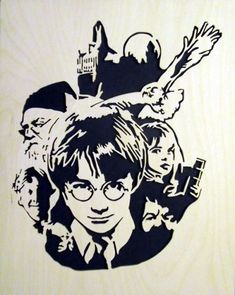 Cut with a scroll saw. Harry Potter Clip Art, Harry Potter Parts, Harry Potter Canvas, Harry Potter Sketch, Harry Potter Font, Harry Potter Drawings, Girl Drawing Sketches, Anime Girl Drawings, Harry Potter Portraits