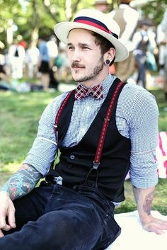 completewealth:      Perfect Summer Day      File under: Boater hats, Trousers, Suspenders, Bow ties, Woven, Gingham, Vest
