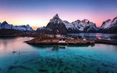 Lofoten islands, mountains, sunset, sea, Norway, fjord, village