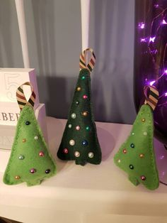 3 Felt Christmas Tree hanging decorations - pyramid shaped trees jewel embellished christmas tree decoration ornament by PickledGingerByMandi on Etsy Hanging Decorations, Christmas Tree Decorations, Holiday Decor, Felt Christmas, Christmas Ideas, Christmas Ornaments, Felt Tree, Trees, Shapes