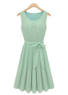 Light Green Sleeveless Chiffon Pleated Dress for Girls on sale only US$16.20 now, buy cheap Light Green Sleeveless Chiffon Pleated Dress for Girls at modlily.com