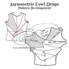 Pattern Puzzle - Asymmetric Cowl Drape