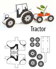 Traktör Yapımı Tractor construction, activities handcrafted activities, and examples of simple activity activities from paper to cardboard. Craft Sites, Craft Activities, Children Activities, Tractor Crafts, Diy For Kids, Crafts For Kids, Diy And Crafts, Arts And Crafts, Paper Models