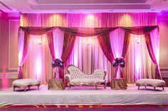 Blush, Purple, Gold, Cream, Ivory Pakistani Shaadi Baraat Stage Draped Backdrop