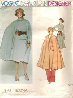Vogue Designer 1371 Teal Traina Cape Skirt Top Pants Sewing Pattern Size 14  Flared half circle unlined cape three inches below mid knee in length has turnover collar extending into tie ends. Topstitching. Loose fitting top slightly above hip in length has bias turnover collar, back zipper closing and full length raglan sleeves. Purchased belt holds in fullness at waistline. Slightly flared skirt three inches below mid knee in length has waistband and side zipper closing. Straight legged…