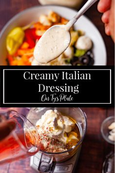 Creamy Italian Salad Dressing—a creamy tangy flavorful dressing made with fresh garlic, parmesan, and the perfect blend of spices.