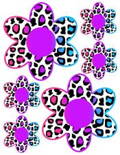 RAINBOW LEOPARD FLOWERS wall decals teen girls room decor kids baby nursery stickers