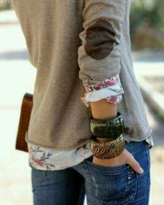 elbow patch and florals + bracelets.
