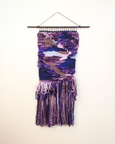 SOLD! Purple Rocks Woven Wall Hanging by PersnicketyStudio on Etsy. Weave. Weaving. Wall Decor. Tapestry. Loom. Wallhanging. Woven Tapestry. Handmade. Blends of different yarn fibers.