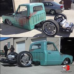 Hot Wheels - Yeah the crew at killing it with the back half kit, lay that frame on the ground right igers? Job done! Bagged Trucks, Lowered Trucks, Dually Trucks, Mini Trucks, Pickup Trucks, C10 Trucks For Sale, Lowered C10, 80s Chevy Truck, Classic Chevy Trucks