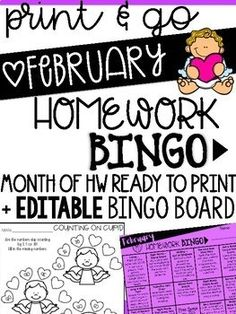 February themed activities for reading, spelling, writing and math! Students can CHOOSE from the activities YOU decide with EDITABLE Bingo board!
