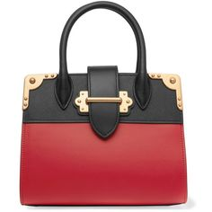 Prada Cahier small two-tone leather tote ($3,480) ❤ liked on Polyvore featuring bags, handbags, tote bags, purses, red, red tote bag, red leather handbags, prada tote bag, prada handbags and leather man bags