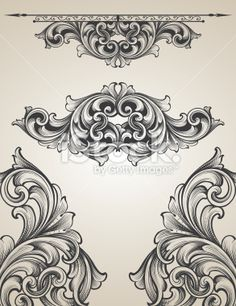 Intertwining Engraving Scroll Set Royalty Free Stock Vector Art Illustration