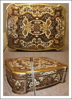 Scatola Boulle intarsiata materiali pregiati epoca meta 800