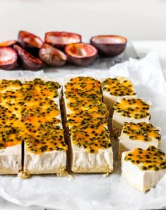 Easy to make No-Bake Coconut Passionfruit Bars are so creamy and made with simple clean ingredients (Gluten Free, Paleo, and Vegan)