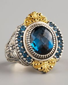 Konstantino Jewelry Neiman Marcus | Konstantino Pave London Blue Topaz Ring in Blue (london blue) - Lyst