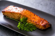 Hoisin Glazed Salmon Recipe Main Dishes with hoisin sauce, soy sauce, lime juice, sugar, large garlic cloves, salmon fillets, vegetable oil
