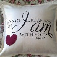 SOFT FURNISHING – #CUSHION WITH VERSE BY KIM'S COLLECTION R295 Do not be afraid for I am with you You are never alone Bull Denim, Black on Cr...