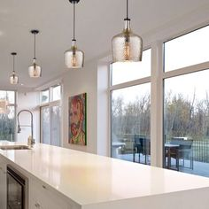 Kitchen Lighting Remodel Psyche Glass Shade Mini Pendant - Casting light over kitchen sinks, freestanding islands, dinner tables, and more, pendant lights are hardworking light sources in any abode. Home Decor Kitchen, Decorating Kitchen, Kitchen Interior, Kitchen Ideas, Strip Lighting, Lighting Ideas, Cabin Lighting, Modern Lighting, Kitchen Lighting