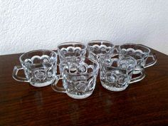 Vintage Clear Pressed Glass Punch Cups (Set of 6). $9.99, via Etsy.